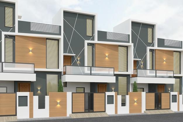 Renderização 3d de casas geminadas à luz do dia