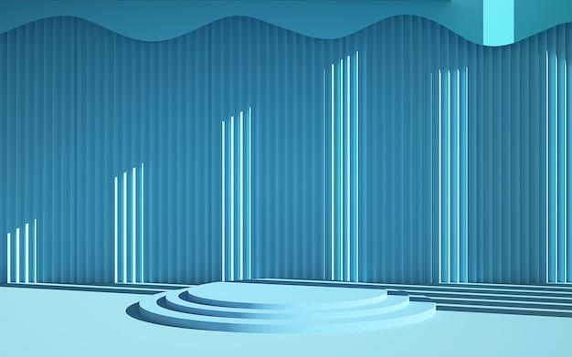 Renderização 3d de cena listrada em azul e pódio de forma geométrica