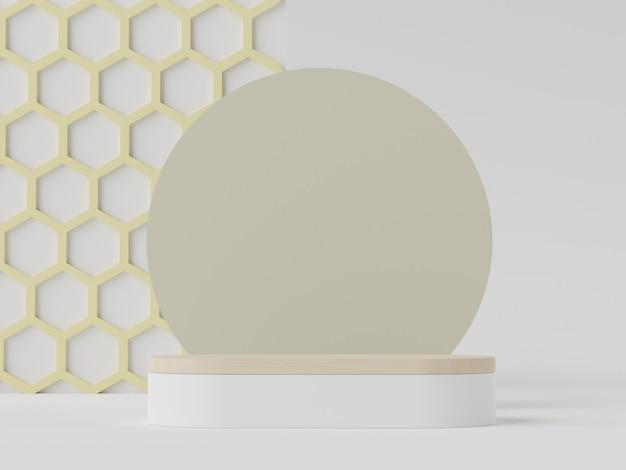 Renderização 3d de cena minimalista pastel de pódio em branco branco com tema de tons de terra. cor saturada silenciada. desenho de formas geométricas simples. display moderno para apresentação de produtos.