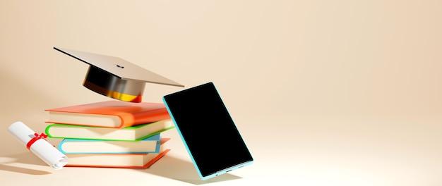 Renderização 3d de chapéu de formatura, livros e telefone mobil em fundo laranja claro. formas 3d realistas. conceito de educação online.