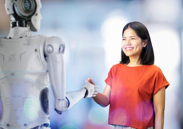 Renderização 3d de ciborgue com aperto de mão com mulher asiática