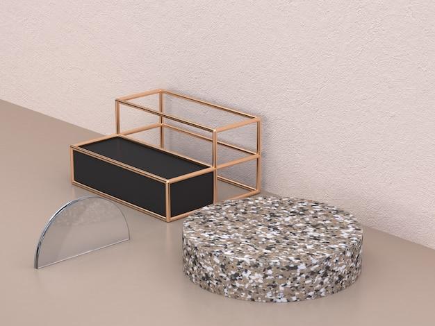 Renderização 3d de círculo de mármore preto metálico forma de ouro
