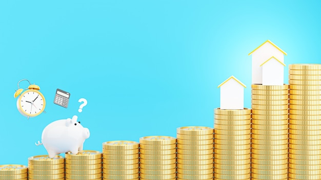 Renderização 3d de cofrinho rosa com moedas de ouro empilhadas para economizar dinheiro