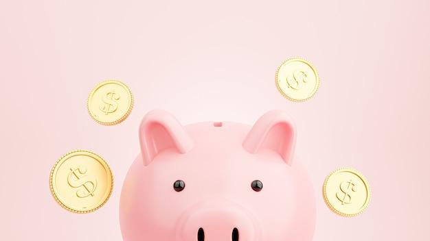 Renderização 3d de cofrinho rosa com moedas de ouro flutuantes para economizar dinheiro