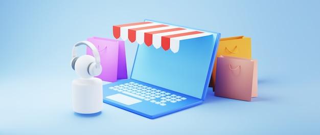 Renderização 3d de compras online com laptop e sacolas de compras
