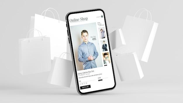 Renderização 3d de compras online para celular