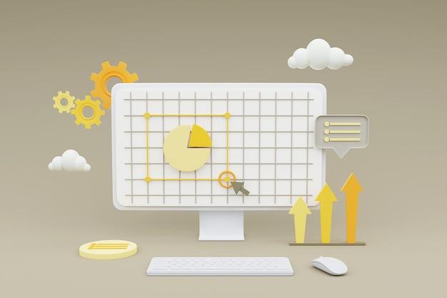 Renderização 3d de computador mostrando desenvolvimento web com formas 3d, gráfico de pizza, gráfico de barras, infográfico.