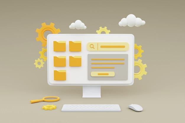 Renderização 3d de computador mostrando o gerenciamento de conteúdo de mídia para o conceito de desenvolvimento de marketing online do site.