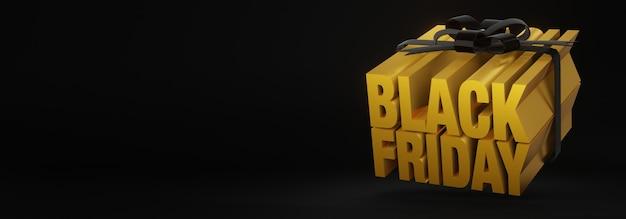 Renderização 3d de conceito de caixa de presente para venda na sexta-feira negra com letras douradas amarradas com fitas pretas