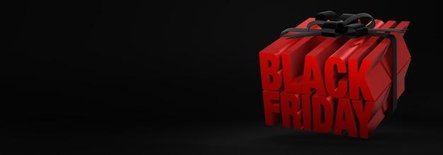Renderização 3d de conceito de caixa de presente para venda na sexta-feira negra com letras vermelhas amarradas com fitas pretas