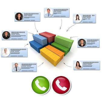 Renderização 3d de contêineres de carga conectados a diferentes contatos comerciais fazendo uma chamada em conferência