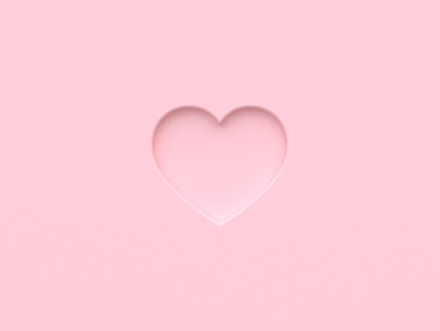 Renderização 3d de coração rosa
