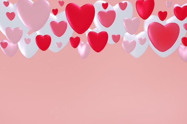 Renderização 3d de corações brancos, rosa e vermelhos flutuando