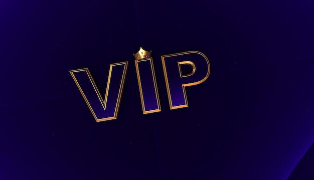Renderização 3d de coroa de ouro vip, coroa de ouro royal vip no travesseiro bleu, crown vip