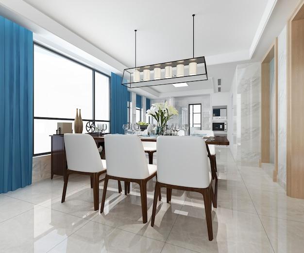 Renderização 3d de cozinha moderna com área de jantar azul