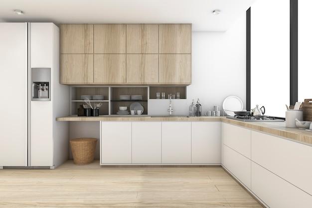 Renderização 3d de cozinha moderna de luxo
