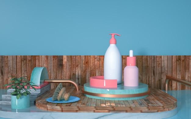 Renderização 3d de creme cosmético no pedestal de madeira para exibição de simulação