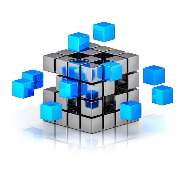 Renderização 3d de cubo com pequenos cubos