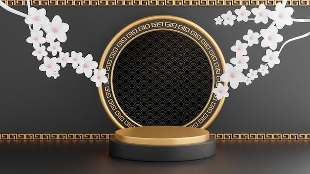 Renderização 3d de decoração chinesa em pódio preto para apresentação de produtos