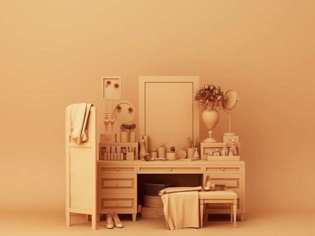 Renderização 3d de decorações de console laranja