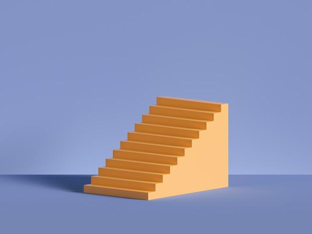 Renderização 3d de degraus amarelos, escadas isoladas