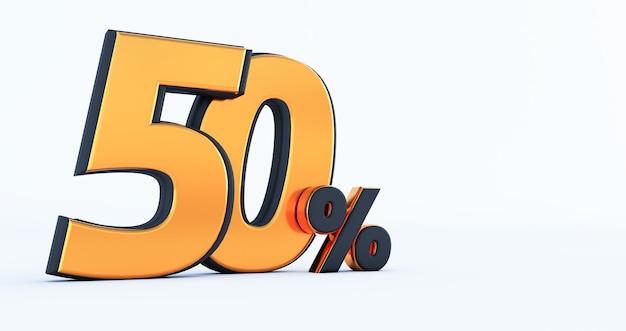 Renderização 3d de desconto de cinquenta a 50 por cento isolado no fundo branco