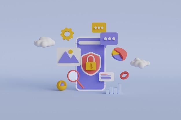 Renderização 3d de desenvolvimento de aplicativos móveis