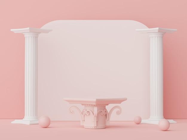 Renderização 3d de design mínimo de pódio de exibição para simulação e apresentação do produto
