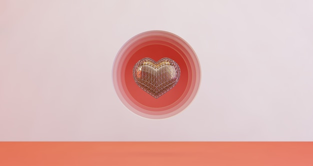Renderização 3d de dia dos namorados. coração de ouro flutuando no fundo do buraco círculo rosa, minimalista. símbolo de amor render 3d moderno.
