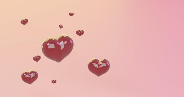 Renderização 3d de dia dos namorados. coração de vermelhos sobre fundo rosa, minimalista. símbolo de amor render 3d moderno.