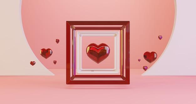 Renderização 3d de dia dos namorados. corações de cristal vermelho flutuando no quadro do cubo em fundo rosa, minimalista. símbolo de amor render 3d moderno.