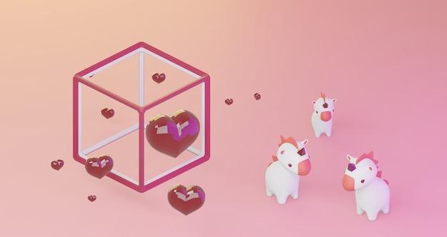 Renderização 3d de dia dos namorados. corações de cristal vermelho no quadro do cubo e unicórnios fofos no fundo rosa, minimalista. símbolo de amor render 3d moderno.