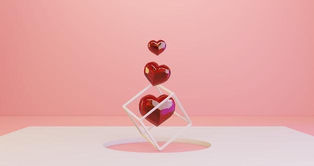 Renderização 3d de dia dos namorados. corações de cristal vermelhos flutuando no fundo do buraco branco círculo, minimalista. símbolo de amor render 3d moderno.