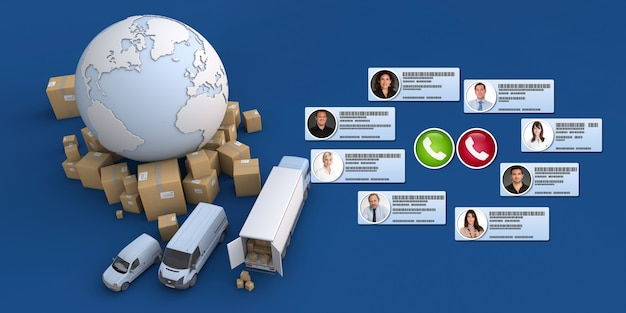 Renderização 3d de diferentes contatos comerciais fazendo uma chamada em conferência em um contexto de distribuição internacional