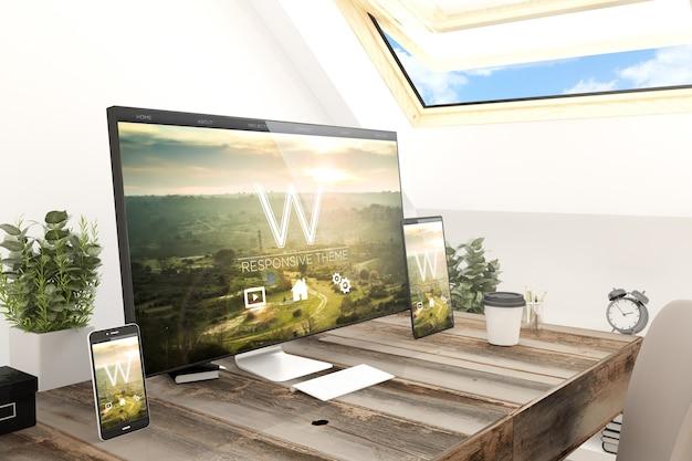 Renderização 3d de dispositivos de tecnologia dispositivos de tela responsivos de sites no local de trabalho do sótão