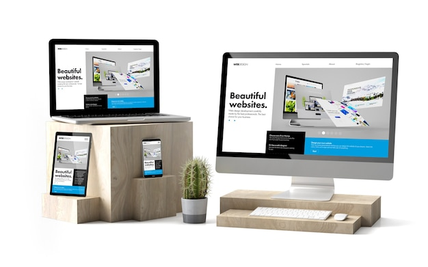 Renderização 3d de dispositivos isolados sobre cubos de madeira, mostrando o site do construtor responsivo