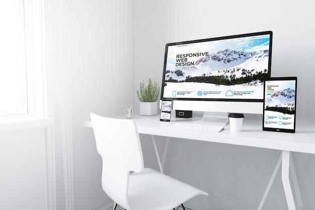 Renderização 3d de dispositivos na área de trabalho. página inicial do site responsivo nas telas.