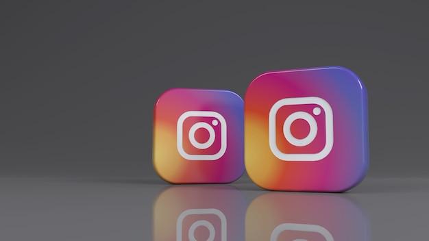 Renderização 3d de dois emblemas quadrados do instagram sobre fundo cinza