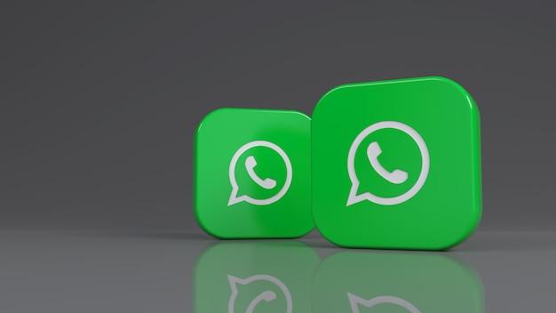 Renderização 3d de dois emblemas quadrados do whatsapp sobre fundo cinza