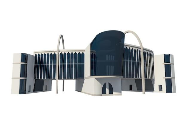 Renderização 3d de edifício comercial conceitual, ilustração de loja de roupas modernas