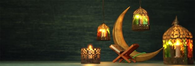 Renderização 3d de elementos do festival muçulmano, como lua crescente