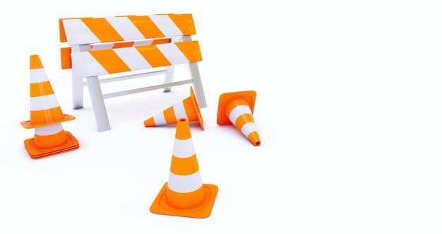 Renderização 3d de em construção com cones de trânsito isolados no fundo branco