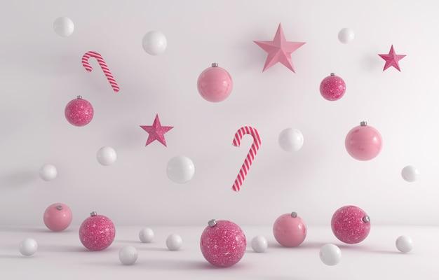 Renderização 3d de enfeites de natal brancos e rosa pendurados em um fundo branco