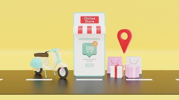 Renderização 3d de entrega online