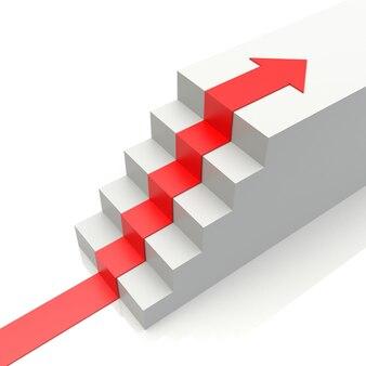 Renderização 3d de escadas de seta vermelha para cima isoladas no fundo branco