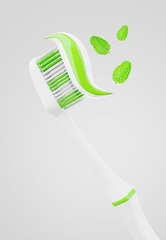 Renderização 3d de escova de dente com pasta para exposição de produto