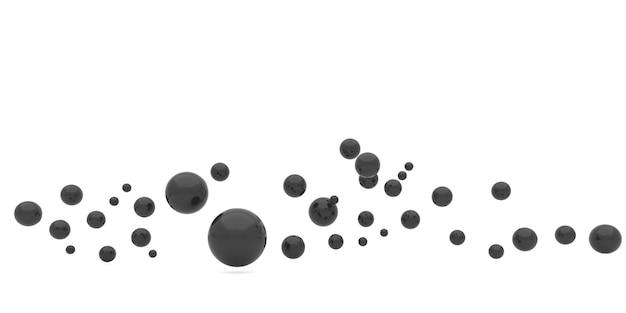 Renderização 3d de esfera escura em fundo branco.