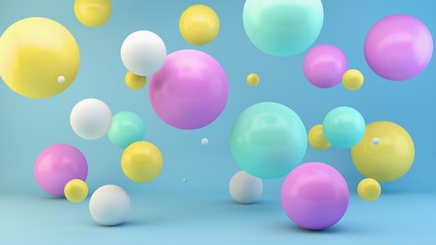 Renderização 3d de esferas flutuantes coloridas