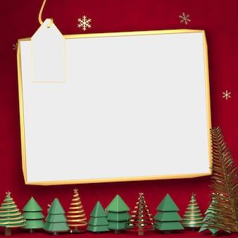 Renderização 3d de espaço em branco no pano de fundo vermelho, espaço para mostrar mercadorias no chrismast
