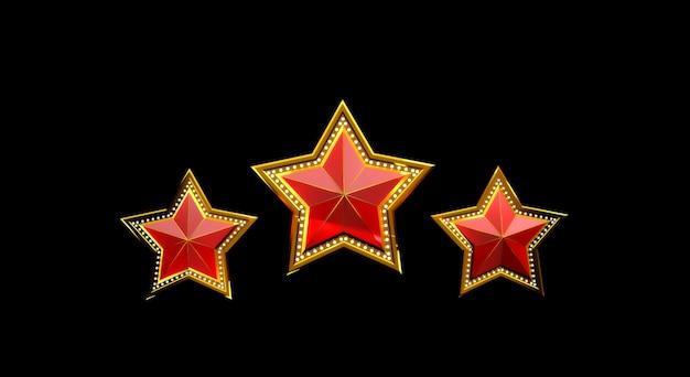 Renderização 3d de estrelas de ouro com luzes isoladas no fundo preto.